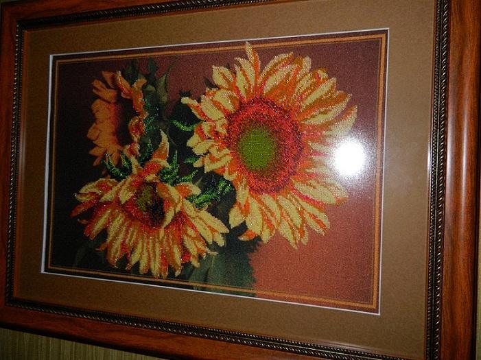 Картина вышитая бисером Соняшники фото, цены, купить в Киеве картину Соняшники вышитую бисером, продам картину...